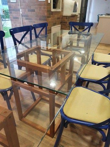 Vendo mesa base madeira e vidro - Foto 2