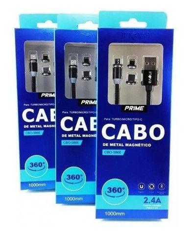 Cabo Carregador Magnético Inova 3 In 1 Tipo-c iPhone V8 Universal 1 Metro - Foto 4