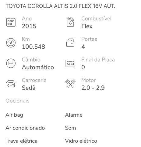 TOYOTA COROLLA ALTIS 2.0 2014/2015 - R$ 85.000,00 - Foto 3