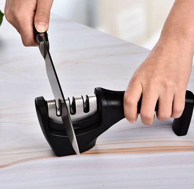 Amolador/afiador de facas profissional 3 níveis cabo ergonômico diamantado  - Foto 3
