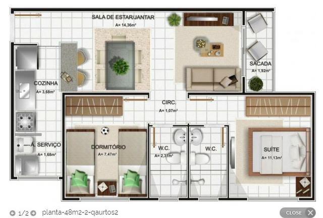 Repasse de Apt 3/4 sendo 1 suite (60 m2), Bosque Ville, pode pagar no nome - Foto 8