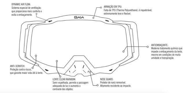 Óculos Gaia Mx Pró Motocross Velocross Azul Lente Espelhada - Foto 4