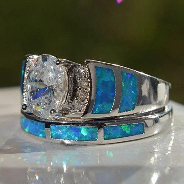 Conjunto de anel folheado em prata - Foto 3