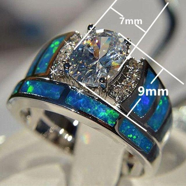 Conjunto de anel folheado em prata - Foto 2