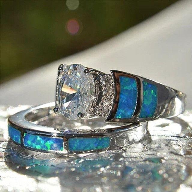 Conjunto de anel folheado em prata - Foto 6