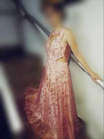 Vestido longo de bordado a renda francesa Rose