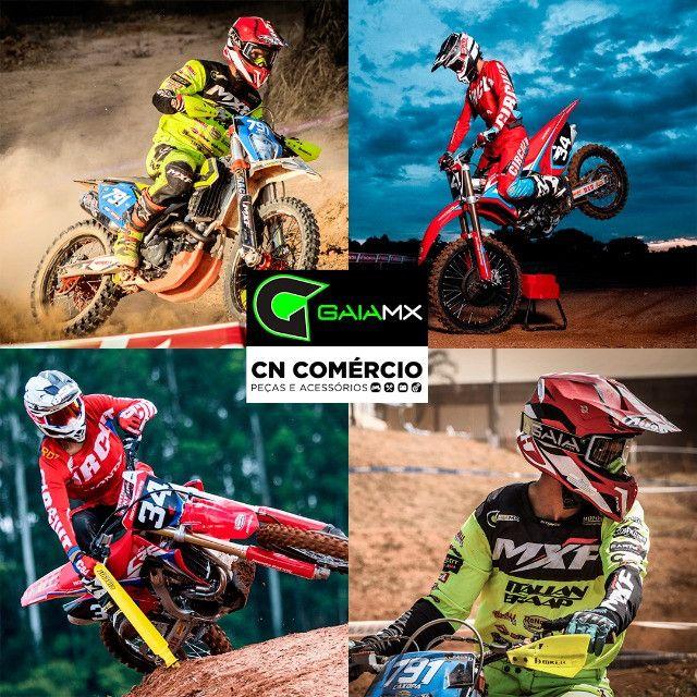 Óculos Gaia Mx Pró Motocross Velocross Azul Lente Espelhada - Foto 5