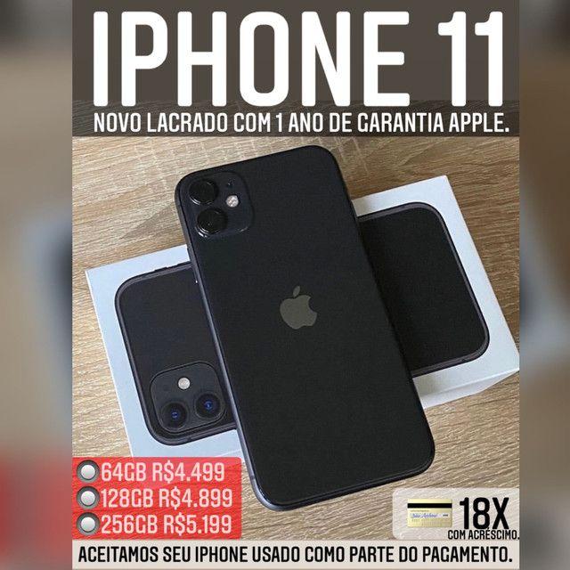 iPhone 11 64gb novo lacrado com 1 ano de garantia, somos loja.