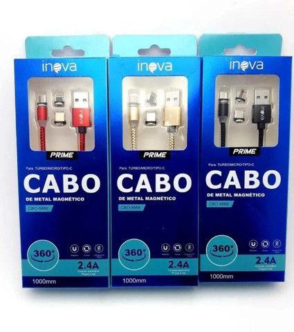 Cabo Carregador Magnético Inova 3 In 1 Tipo-c iPhone V8 Universal 1 Metro