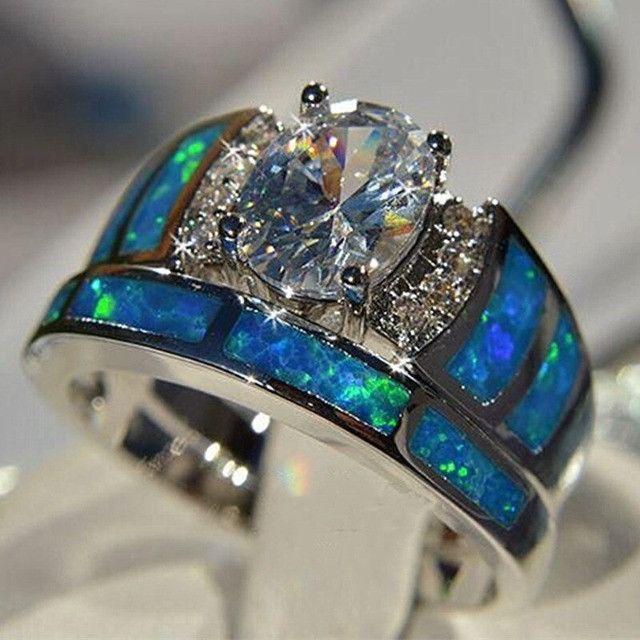 Conjunto de anel folheado em prata