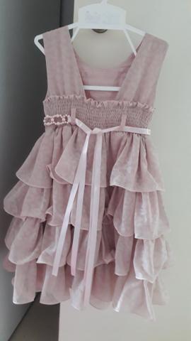 Vestido de festa infantil nude em perfeito estado. tamanho 3 - Foto 2