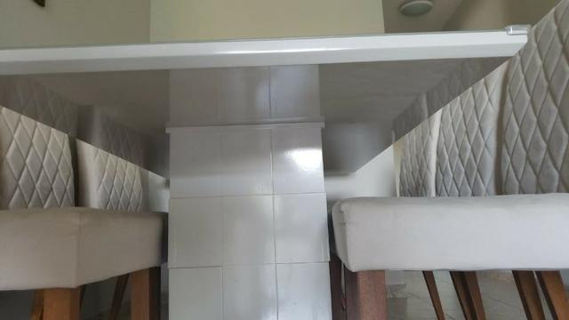 Mesa de Jantar 06 cadeiras Sofia Vidro Off White - Foto 3