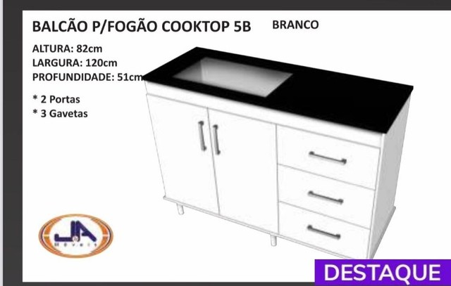 Balcão Cooktop 2 Portas 3 Gavetas - Catálogo completo via whats