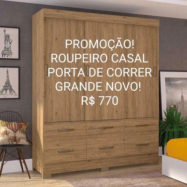 PROMOÇÃO! GUARDA ROUPA CASAL PORTA DE CORRER NOVO! Na caixa