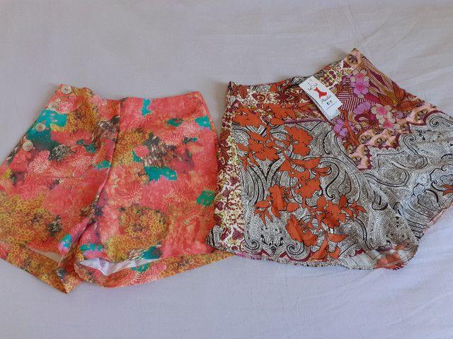 Short estampado cintura alta (P) Novos