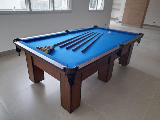 Mesa de Bilhar Charme Pró Imbuia Tecido Azul Modelo NBX2632