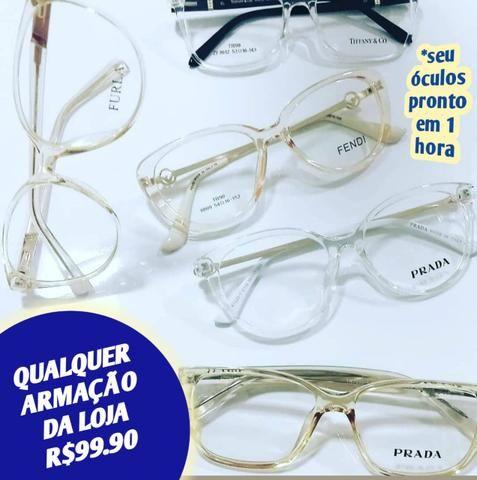 45ab10b5b Qualquer armação da loja 99.90 seus óculos prontos em 1 hora confira  disponibilidade
