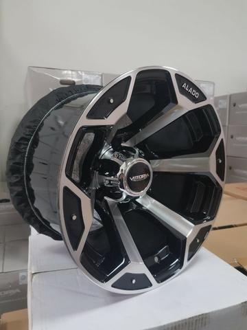 Rodas aro 15 15x10 Alado Offset ET -44 Troller S10 Toyota Hilux Triton Pajero Mitsubishi - Foto 3
