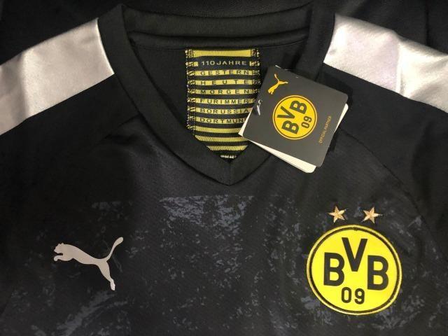 Camisa Borussia Dortmund 2019/2020 - Preto - Foto 2