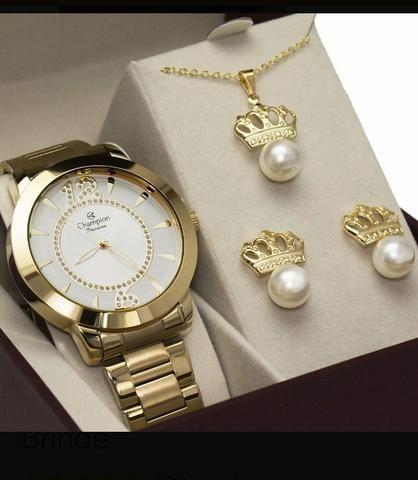 a4e4578027 Relógio Champion Feminino Dourado Passion Ch24259h + Brinde ...
