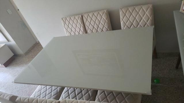 Mesa de Jantar 06 cadeiras Sofia Vidro Off White - Foto 5