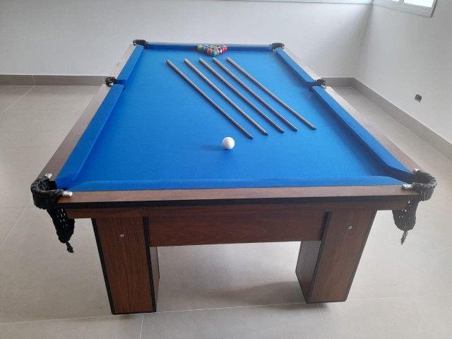 Mesa de Bilhar Charme Pró Imbuia Tecido Azul Modelo NBX2632 - Foto 5