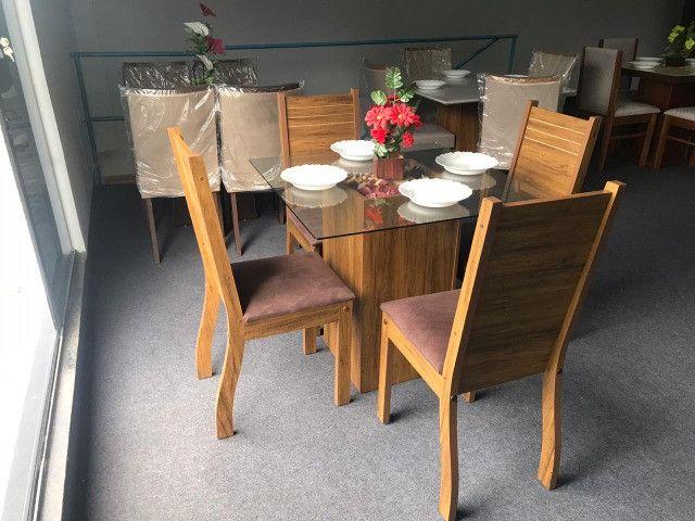 Mesa Evidencia N 4 Cadeiras  85X85 Tecido CAFÉ - Foto 3