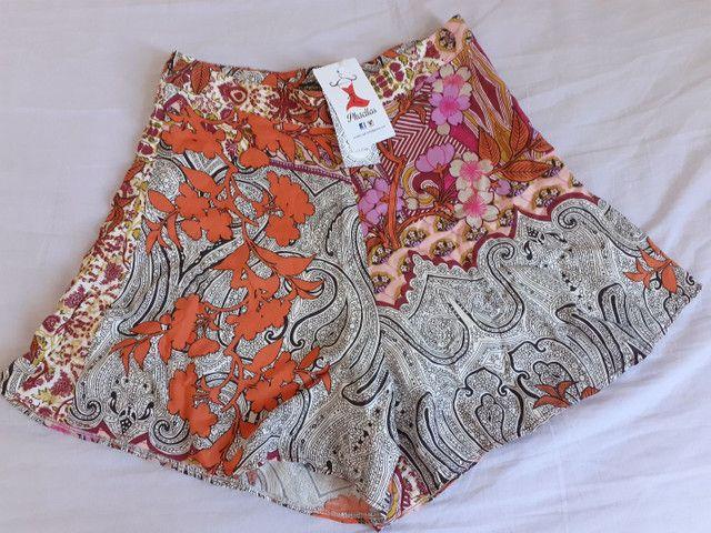 Short estampado cintura alta (P) Novos - Foto 4