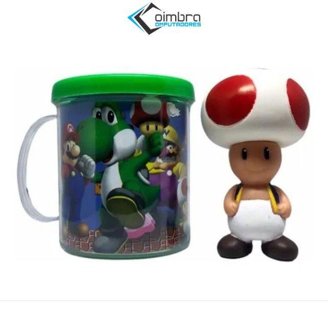 Boneco Toad + Caneca Personalizada- Super Mario Bros - Loja Coimbra