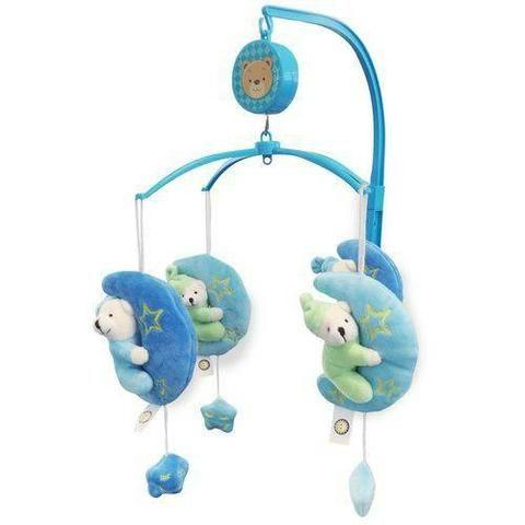 1a0918e549 Móbile em Pelúcia Giratório Musical De Bebê Para Berço Ursinho Soneca - Azul
