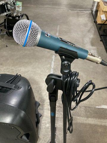 Kit Microfone + pedestal + caixa de som ativa, novos - Foto 2