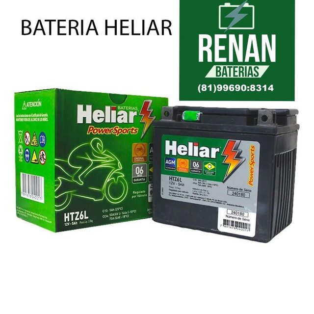 Bateria heliar 5 amperes fan titan xre Bros xtz crosser