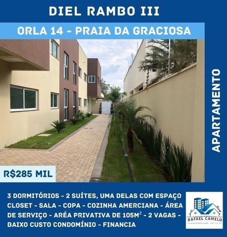 Apartamento - 3/4, Sendo 2 Suítes, Uma com Closet, 105m², 2 Vagas - Orla 14