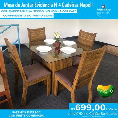 Mesa Evidencia N 4 Cadeiras  85X85 Tecido CAFÉ