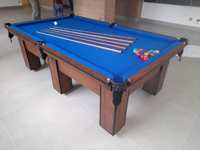 Mesa de Bilhar Charme Pró Imbuia Tecido Azul Modelo NBX2632 - Foto 2