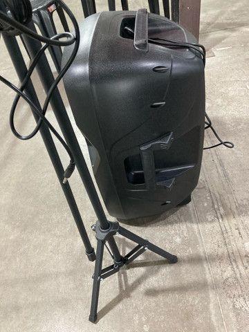 Kit Microfone + pedestal + caixa de som ativa, novos - Foto 5