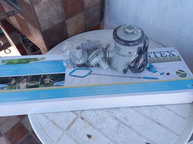 Bomba de piscina com filtro mais kit limpeza