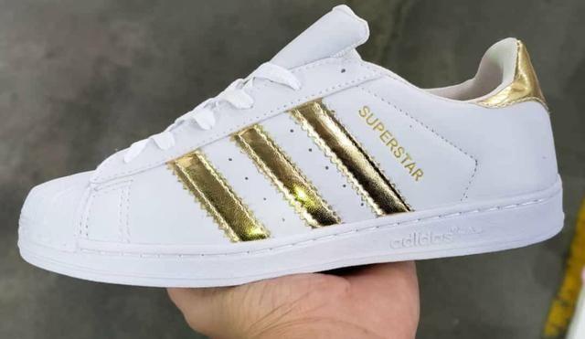 02627f0d777 Tênis Adidas Superstar branco com dourado - Roupas e calçados ...