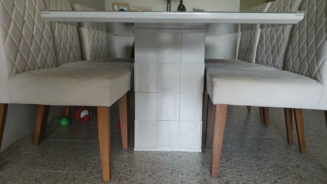 Mesa de Jantar 06 cadeiras Sofia Vidro Off White - Foto 6