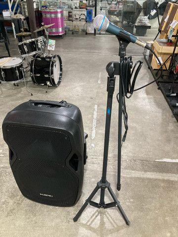 Kit Microfone + pedestal + caixa de som ativa, novos