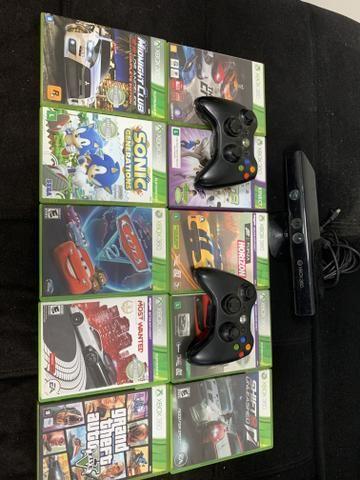 Xbox 360 + HD + kinnect + 10 jogos originais + 02 controles sem fio! - Foto 3