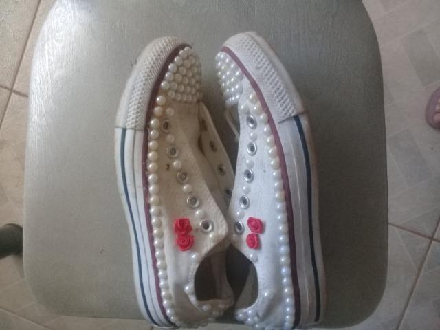 30f334d9a0 Tênis all star n 34 customizado semi novo - Roupas e calçados ...
