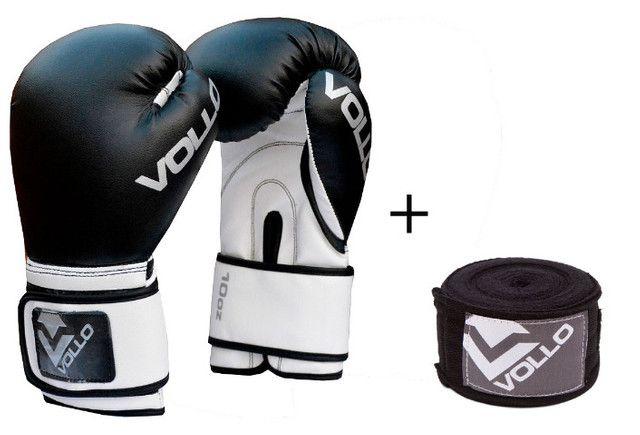 Kit Luva Boxe Vollo Basic pto c/ bandagem tam: 10 até 14 oz