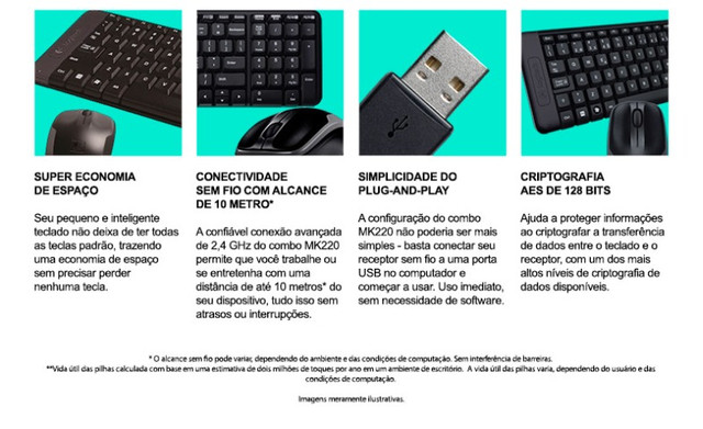 Teclado e Mouse Logitech MK220 Sem Fio Compacto Preto ABNT2 - Loja Coimbra - Foto 3