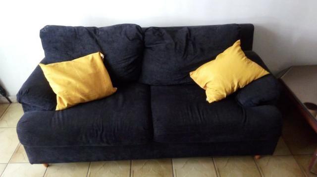 Sofás semi-novos ( 01 azul e 01 preto ) - Foto 3