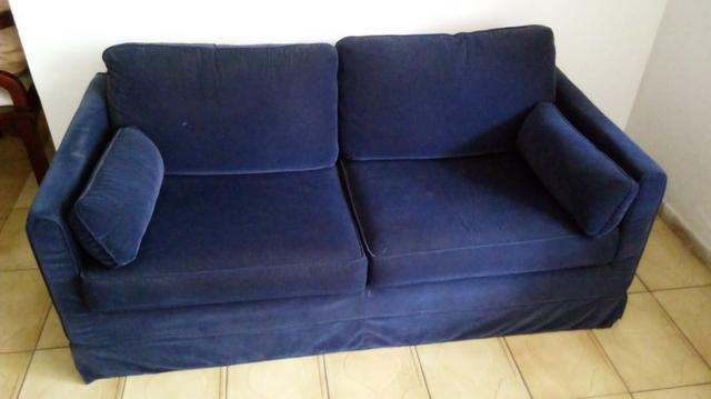 Sofás semi-novos ( 01 azul e 01 preto ) - Foto 2