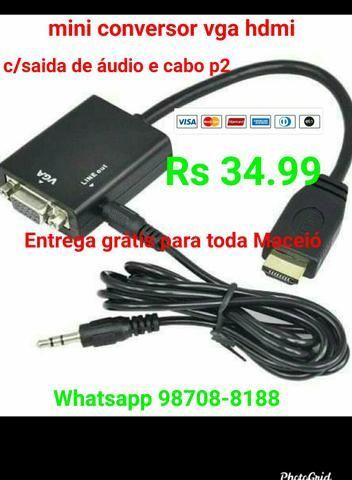 Conversor hdmi/ Vga c/saída de áudio