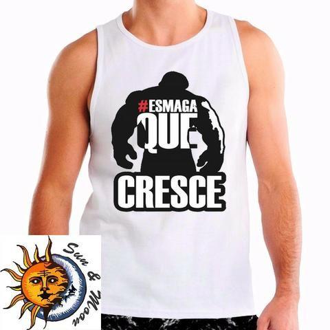 d6323e9f65 Camiseta regata branca personalizada com temas de musculação - diversos