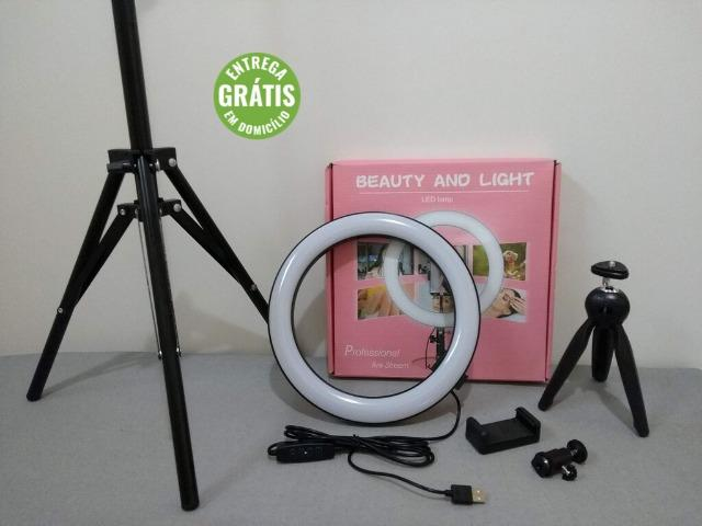 Ring Light 26cm + Tripé 1,60m + Tripé de mesa Entrega Grátis