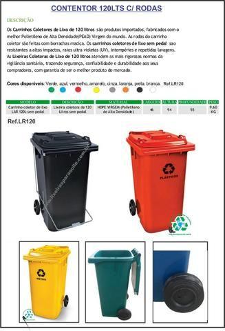 Lixeira contentor de lixo 120lts com rodas 20cm